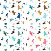 Set of pastel  patterns with lizards