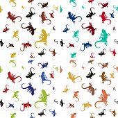 Set of colorful patterns with lizards