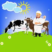 foto of milkman  - Happy Milkman and Dairy Cows on a green meadow - JPG