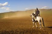 foto of mongolian  - Lone Mongolian Man on a Horse in The Dessert - JPG