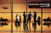 picture of leaving  - Group of Business People at Airport - JPG