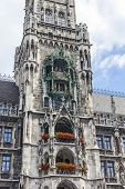 Clock Of The Old City Hall At Marienplatz In Munich, Germany