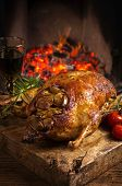 stock photo of barbary duck  - duck roasted with vegetables - JPG