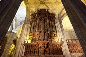 picture of pipe organ  - Ancient pipe organ in a cathedral in Seville Spain - JPG