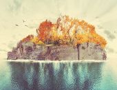 foto of bird paradise  - an island with trees and birds done with a retro vintage instagram filter  - JPG