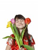 picture of national costume  - Portrait of caucasian little girl in vietnamese national costume keep flowers tulips isolated on white - JPG
