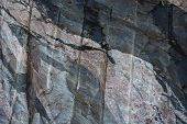 image of gneiss  - This image shows a closeup of a rockface which has multiple intrusions - JPG