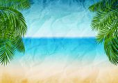 pic of beachfront  - Vector illustration panorama of the sea coast with branches of palms - JPG