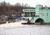 stock photo of hydro  - Volkhov HYDROELECTRIC POWER station - JPG
