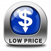 Постер, плакат: low price product promotion sales or bargain lowest prices best offer and reduction customer service