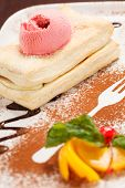 stock photo of cream puff  - puff pastry with ice cream - JPG
