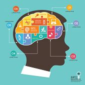 stock photo of cognitive  - infographic Template with Head puzzle - JPG