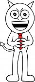 foto of sneaky  - Hand drawn cartoon devil businessman sneaky and hands together - JPG