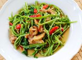 foto of water cabbage  - Stir Fried Water Spinach delicious  healthy food - JPG