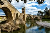 image of unique landscape  - beautiful landscape of besalu medieval village catalonia spain - JPG