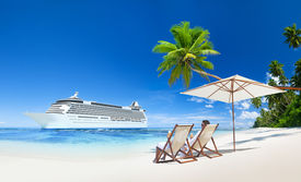 stock photo of passenger ship  - Couple Relaxing in Beach Chair at Beach with 3D Cruise Ship - JPG