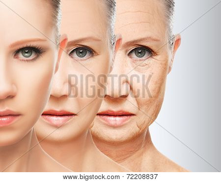 Beauty Concept Skin Aging. Anti-aging Procedures, Rejuvenation, Lifting, Tightening Of Facial Skin poster