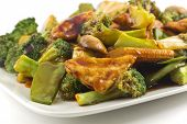 foto of sauteed  - Savory sauteed mixed chinese vegetables with crispy fried tofu  - JPG