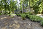 image of house woods  - Big house in the woods with brick front wall trim and walkout deck  - JPG