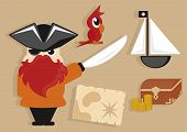 Постер, плакат: pirate cartoon icons set