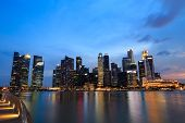 pic of singapore night  - Singapore marina bay finacial district night time