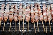 foto of souvlaki  - Souvlaki kebap on the grill - JPG
