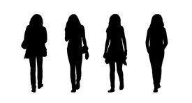 picture of ordinary woman  - silhouettes of ordinary young women walking outdoor front and back view - JPG
