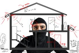 picture of unsafe  - Thief apartment studying security system of a new house - JPG