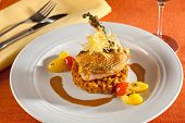 image of fowl  - Fried chicken guinea fowl on red lentils with vegetables red cherry tomatoes potatoes and port wine sauce decorated with very thin grilled crispy potatoe stripes - JPG