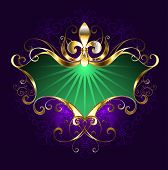 pic of lily  - Green banner with the golden lily on a purple background - JPG