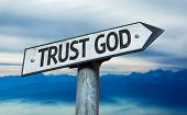 foto of god  - Trust God sign with sky background - JPG