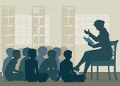 picture of storytime  - EPS8 editable vector illustration of a female teacher reading a story to her pupils sitting on the floor - JPG