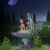 picture of faerie  - 3d Digitally rendered illustration of a pretty blonde fairy taking a bath in a garden fountain - JPG