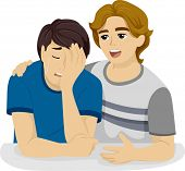 picture of crying boy  - Illustration of a Teenage Boy Comforting His Crying Friend - JPG