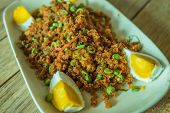 picture of catfish  - Crispy catfish salad with cut boiled egg - JPG
