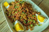 pic of catfish  - Crispy catfish salad with cut boiled egg - JPG