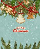 picture of cone  - Christmas card with christmas tree - JPG