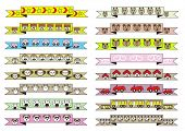 picture of cute  - cute cartoon style ribbons vector illustration set with different cute cartoon animals and different cute cartoon homes and different cute cartoon cars - JPG