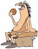 image of caveman  - This illustration depicts a caveman sitting on a boulder and eating an orange - JPG