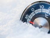 foto of freezing temperatures  - Thermometer in the snow shows low temperature - JPG