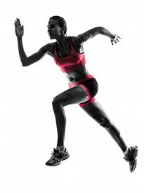 picture of jogger  - one  woman runner running jogger jogging in silhouette on white background - JPG
