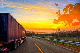 picture of trucks  - Truck on road on Europe map background  - JPG
