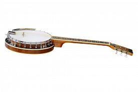 stock photo of banjo  - The image of white banjo isolated under the white background - JPG