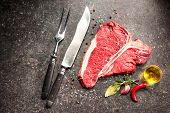 stock photo of rib eye steak  - Raw fresh meat T - JPG