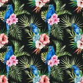 stock photo of jungle flowers  - Beautiful vector pattern with nice watercolor tropical flowers - JPG