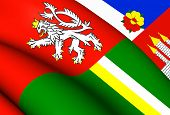 stock photo of bohemian  - 3D Flag of South Bohemian Region Czech Republic - JPG