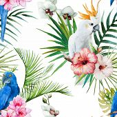 pic of jungle flowers  - Beautiful vector pattern with nice watercolor tropical flowers - JPG