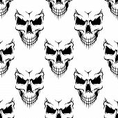 foto of halloween  - Black danger skull seamless pattern for religion - JPG