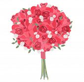 picture of bunch roses  - Contour stylized bunch of contour red  roses on white - JPG