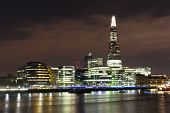 pic of london night  - A landscape view of The Shard in London at Night sitting behind City Hall - JPG